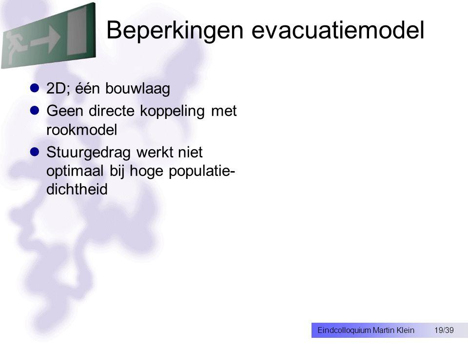 19/39Eindcolloquium Martin Klein Beperkingen evacuatiemodel 2D; één bouwlaag Geen directe koppeling met rookmodel Stuurgedrag werkt niet optimaal bij hoge populatie- dichtheid