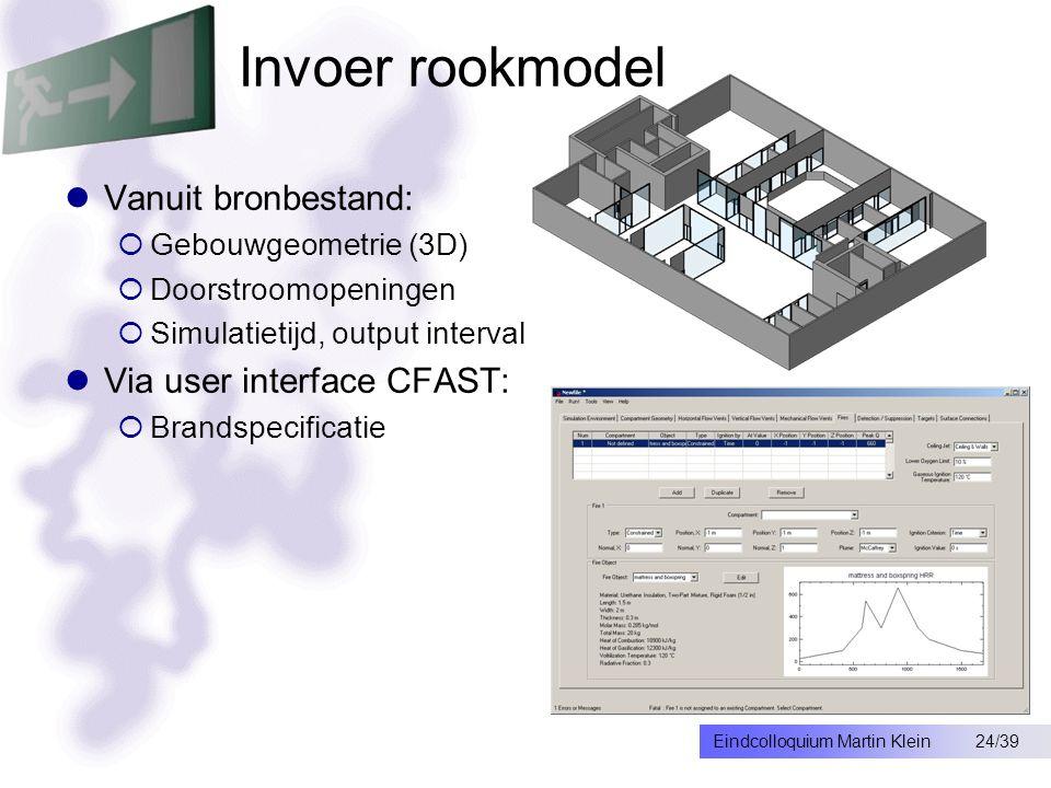 24/39Eindcolloquium Martin Klein Invoer rookmodel Vanuit bronbestand:  Gebouwgeometrie (3D)  Doorstroomopeningen  Simulatietijd, output interval Via user interface CFAST:  Brandspecificatie