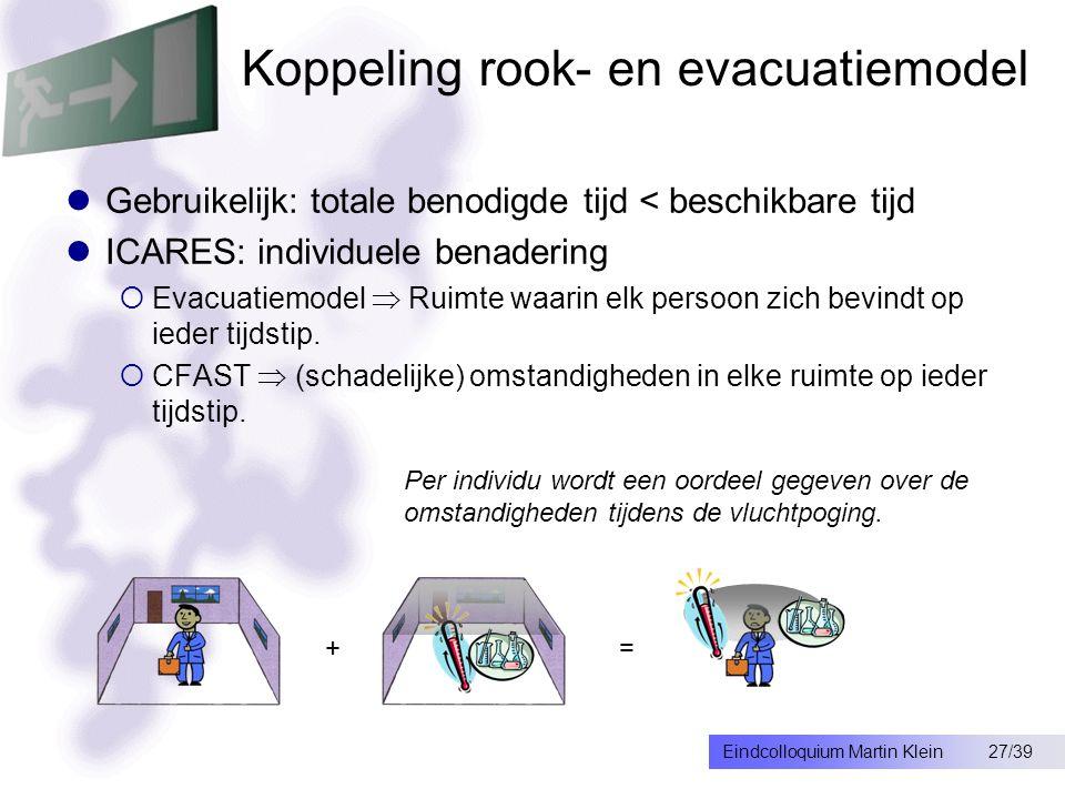 27/39Eindcolloquium Martin Klein Koppeling rook- en evacuatiemodel Gebruikelijk: totale benodigde tijd < beschikbare tijd ICARES: individuele benadering  Evacuatiemodel  Ruimte waarin elk persoon zich bevindt op ieder tijdstip.