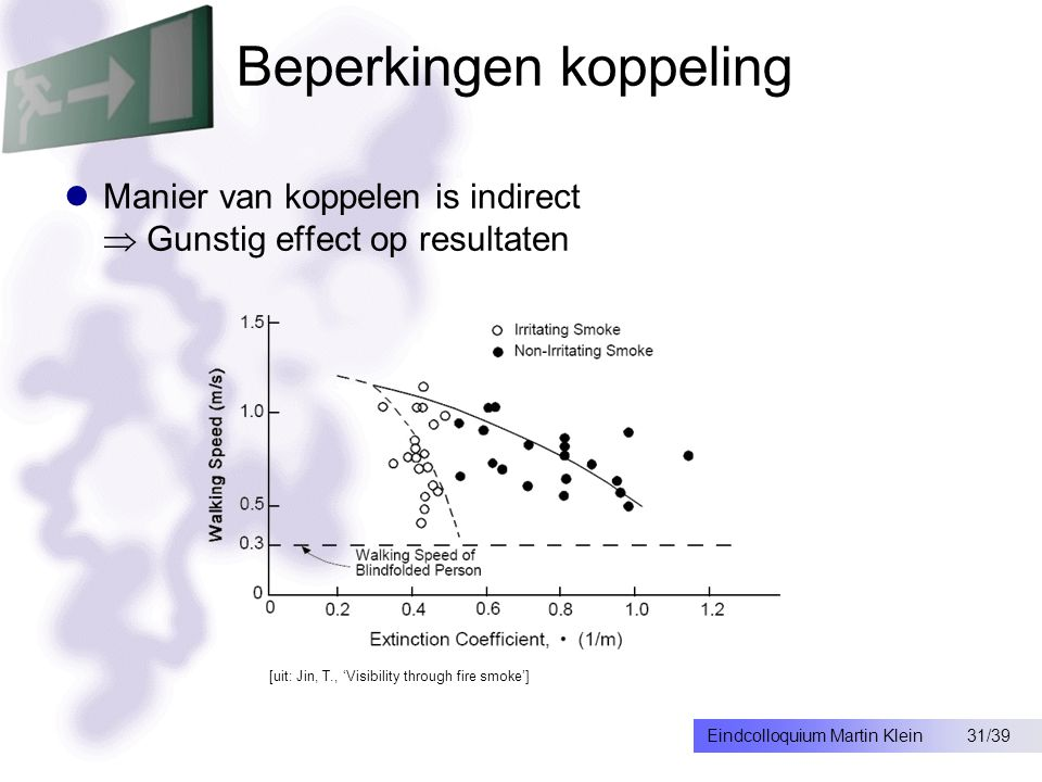 31/39Eindcolloquium Martin Klein Beperkingen koppeling Manier van koppelen is indirect  Gunstig effect op resultaten [uit: Jin, T., 'Visibility through fire smoke']