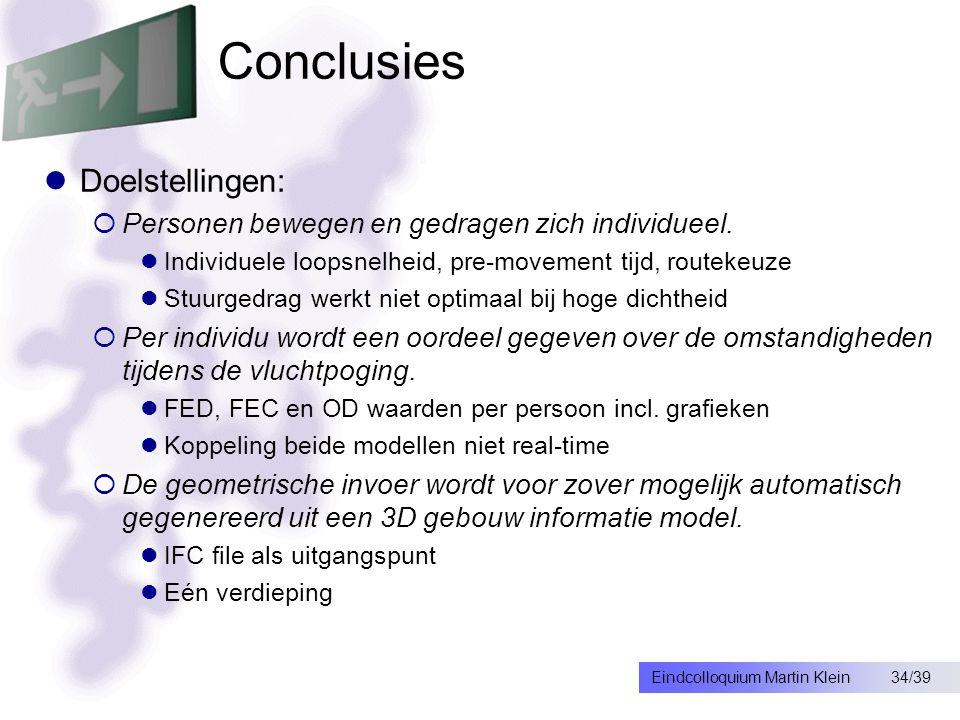 34/39Eindcolloquium Martin Klein Conclusies Doelstellingen:  Personen bewegen en gedragen zich individueel.