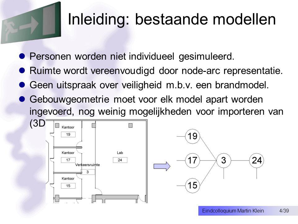25/39Eindcolloquium Martin Klein Beperkingen rookmodel Netwerk model, minder nauwkeurig dan field model Niet geschikt voor vrij indeelbare ruimten