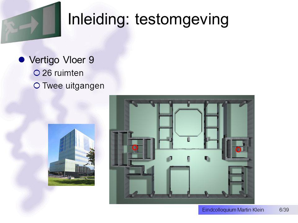 6/39Eindcolloquium Martin Klein Inleiding: testomgeving Vertigo Vloer 9  26 ruimten  Twee uitgangen