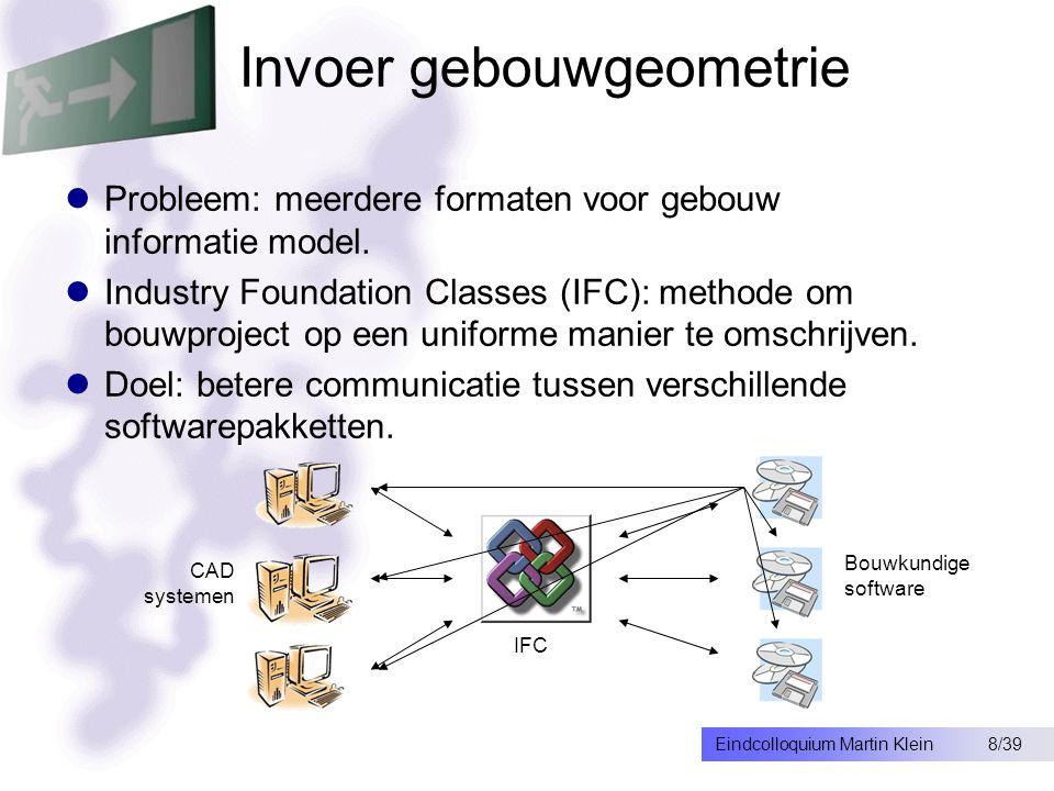 8/39Eindcolloquium Martin Klein Invoer gebouwgeometrie Probleem: meerdere formaten voor gebouw informatie model.