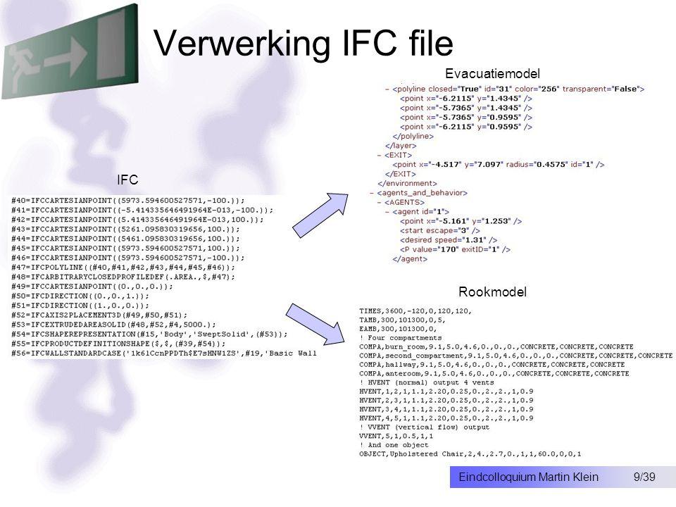 9/39Eindcolloquium Martin Klein Verwerking IFC file IFC Rookmodel Evacuatiemodel