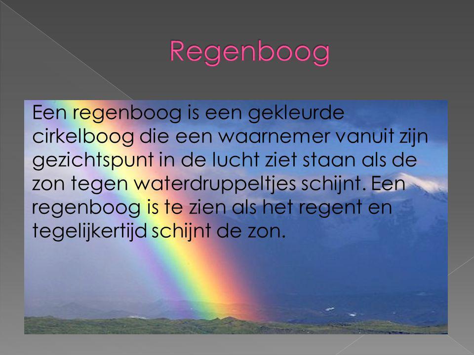 Een regenboog is een gekleurde cirkelboog die een waarnemer vanuit zijn gezichtspunt in de lucht ziet staan als de zon tegen waterdruppeltjes schijnt.
