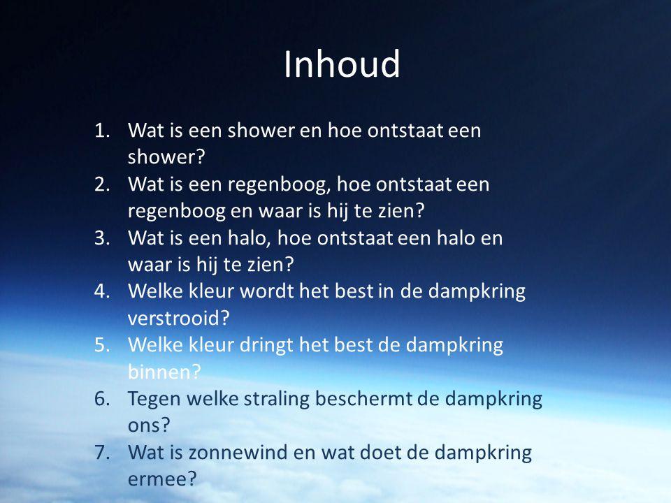 Inhoud 1.Wat is een shower en hoe ontstaat een shower? 2.Wat is een regenboog, hoe ontstaat een regenboog en waar is hij te zien? 3.Wat is een halo, h