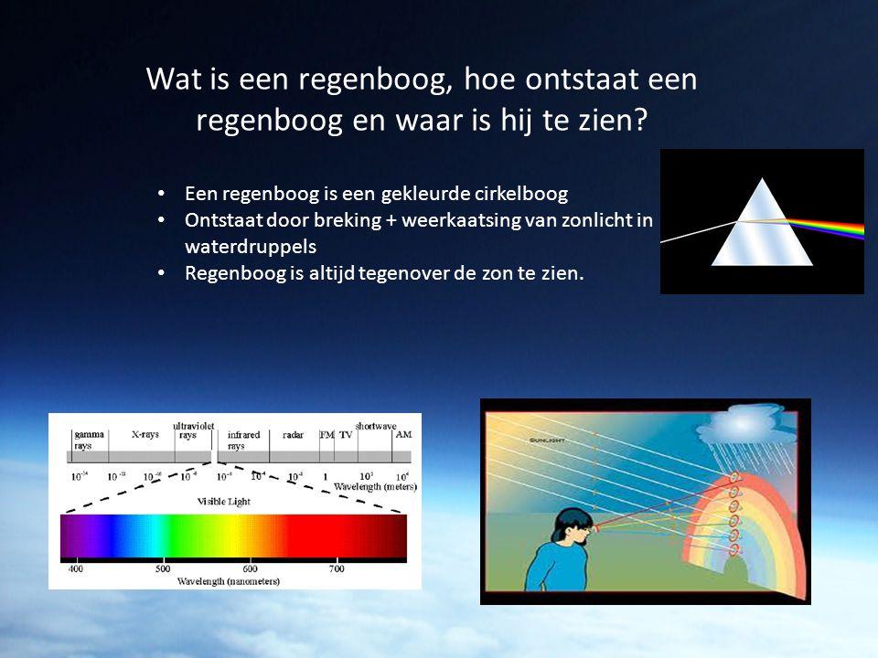Wat is een regenboog, hoe ontstaat een regenboog en waar is hij te zien? Een regenboog is een gekleurde cirkelboog Ontstaat door breking + weerkaatsin