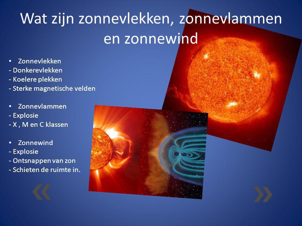 Wat zijn zonnevlekken, zonnevlammen en zonnewind Zonnevlekken - Donkerevlekken - Koelere plekken - Sterke magnetische velden Zonnevlammen - Explosie -