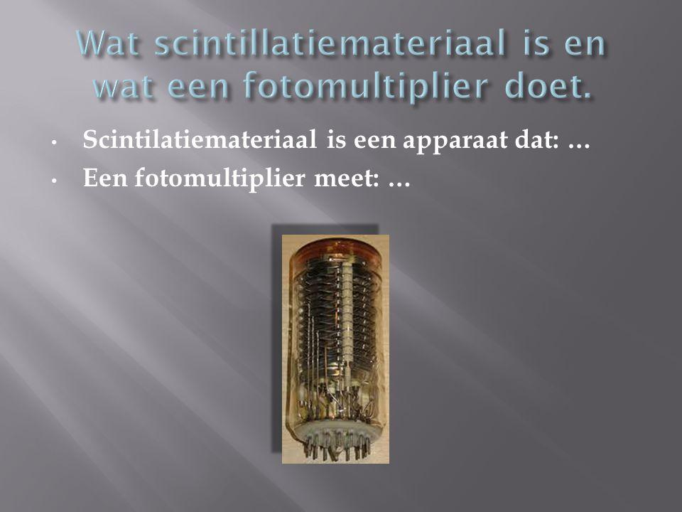 Scintilatiemateriaal is een apparaat dat: … Een fotomultiplier meet: …