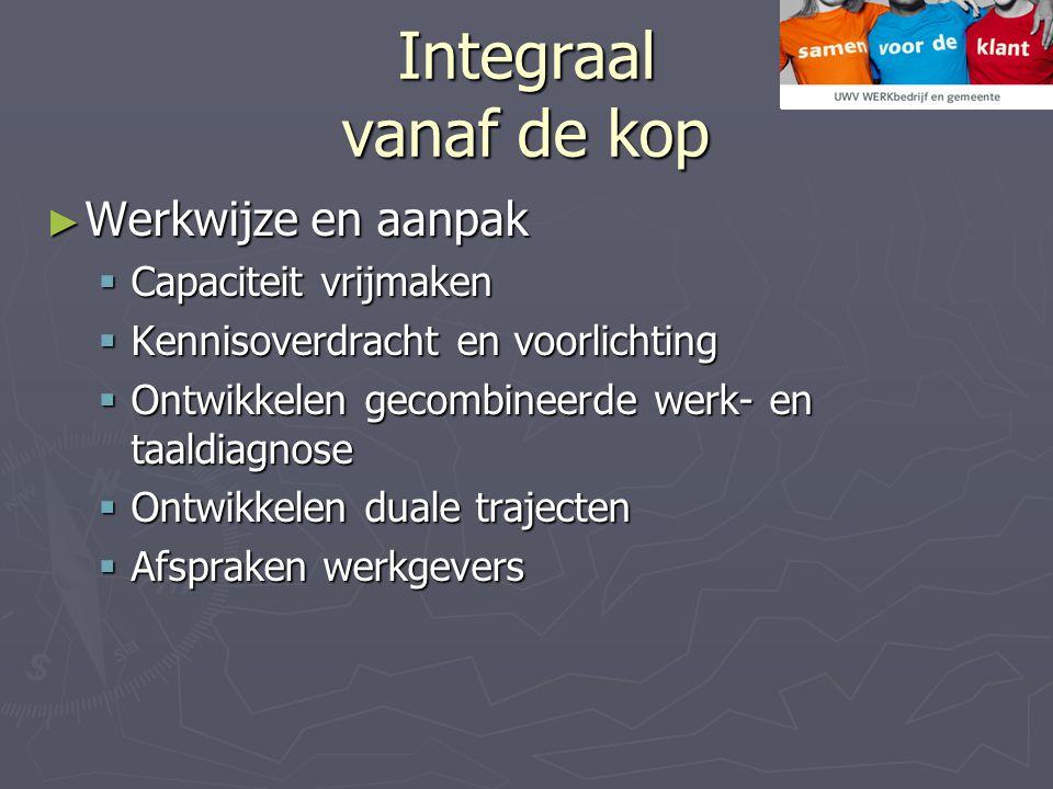 Integraal vanaf de kop ► Werkwijze en aanpak  Capaciteit vrijmaken  Kennisoverdracht en voorlichting  Ontwikkelen gecombineerde werk- en taaldiagno