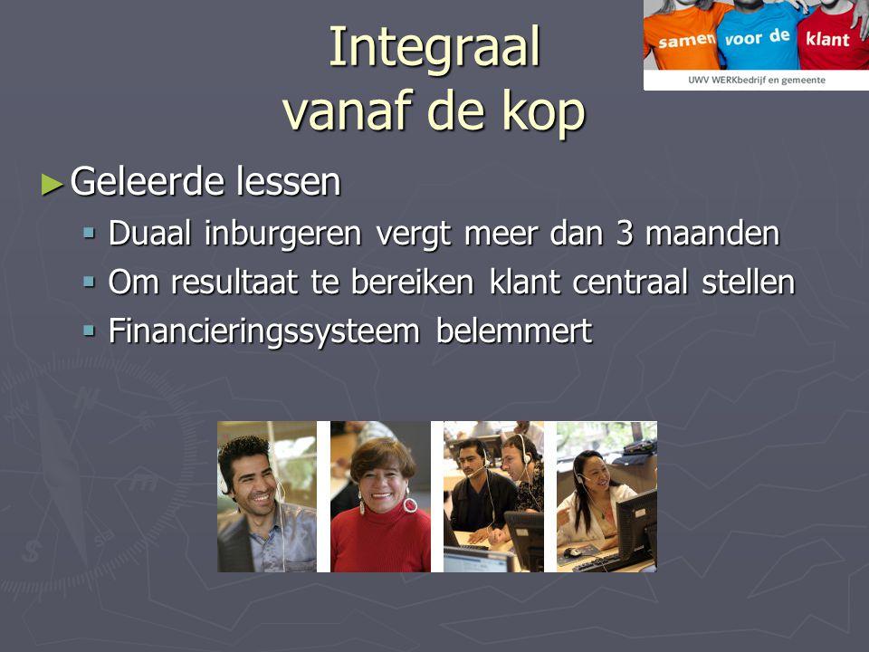 Integraal vanaf de kop ► Geleerde lessen  Duaal inburgeren vergt meer dan 3 maanden  Om resultaat te bereiken klant centraal stellen  Financieringssysteem belemmert