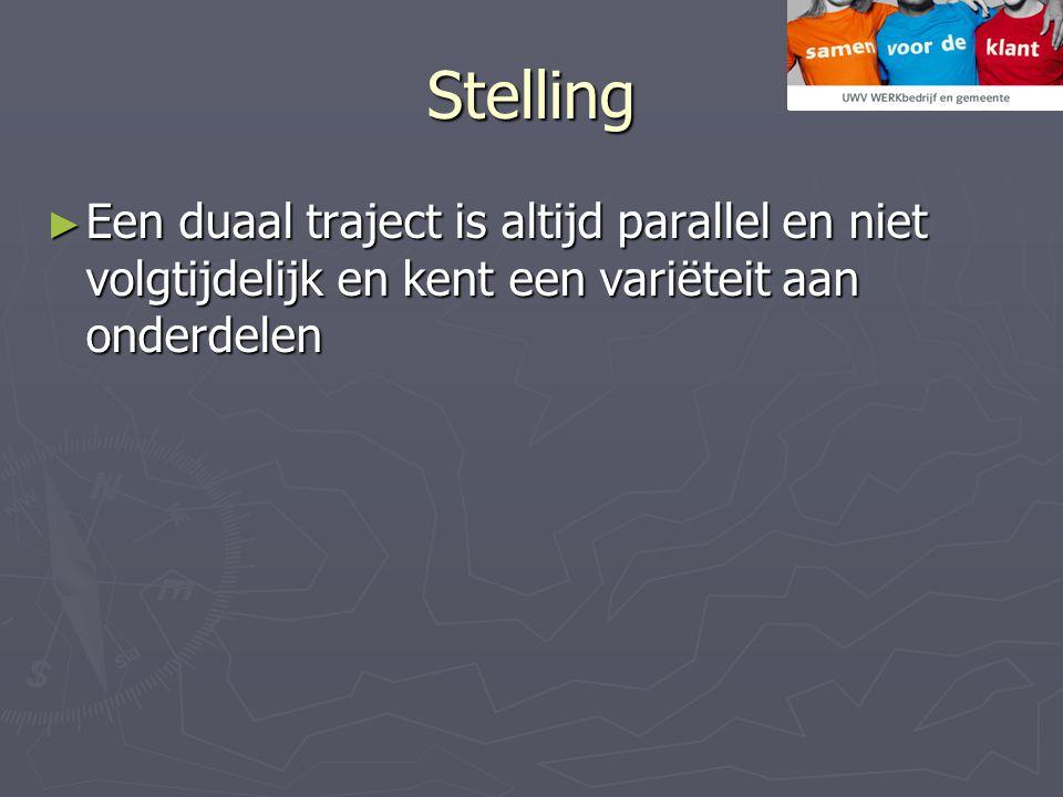 Stelling ► Een duaal traject is altijd parallel en niet volgtijdelijk en kent een variëteit aan onderdelen