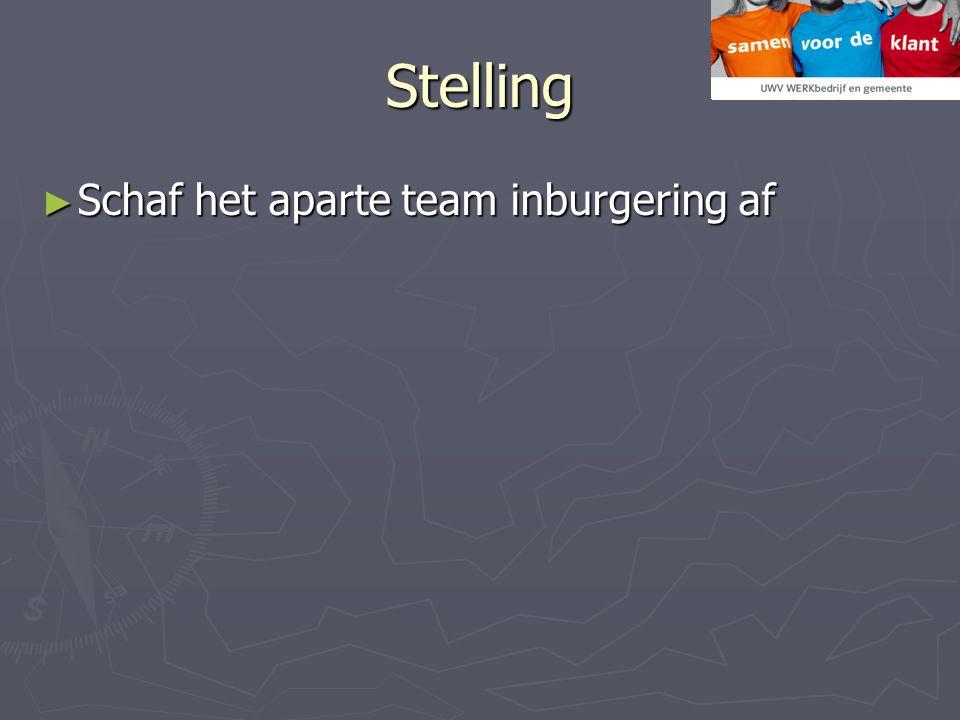 Stelling ► Schaf het aparte team inburgering af