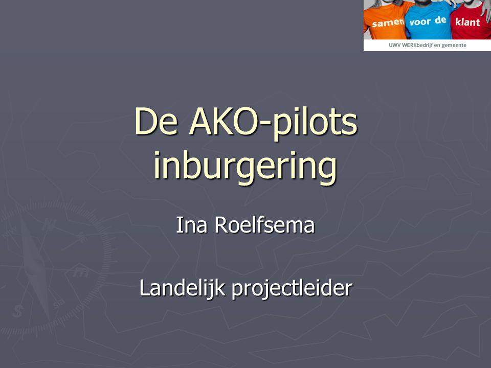 De AKO-pilots inburgering Ina Roelfsema Landelijk projectleider