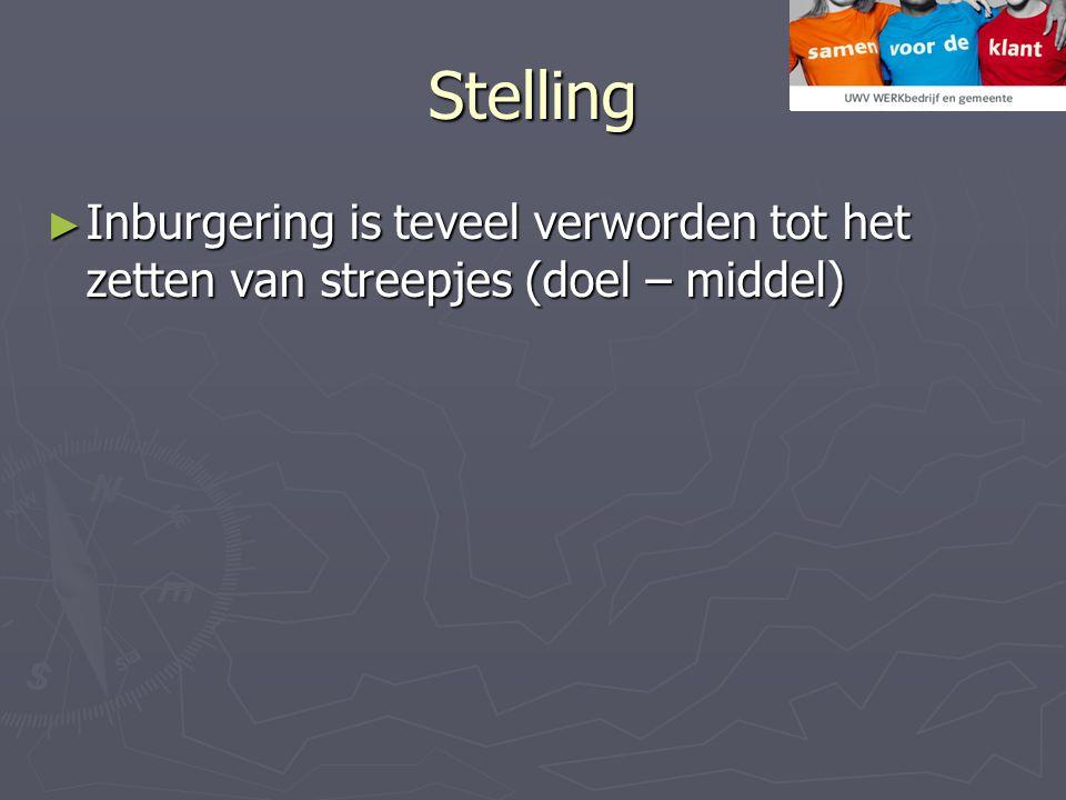 Stelling ► Inburgering is teveel verworden tot het zetten van streepjes (doel – middel)