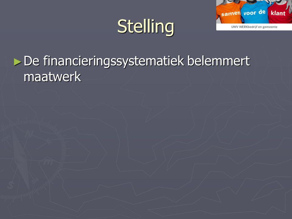 Stelling ► De financieringssystematiek belemmert maatwerk