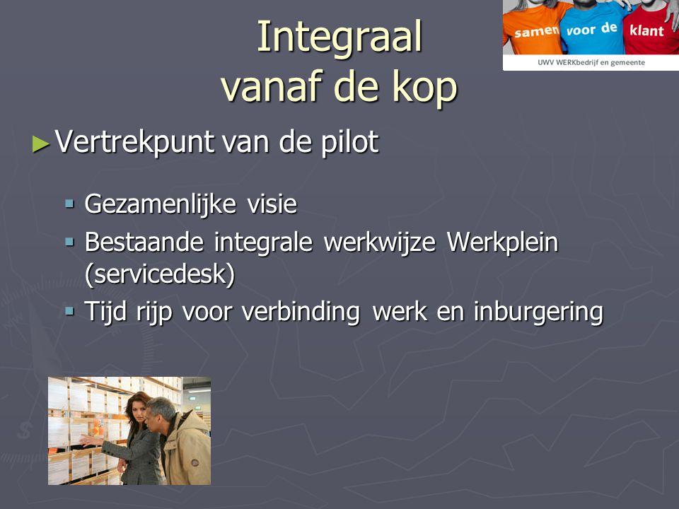 Integraal vanaf de kop ► Vertrekpunt van de pilot  Gezamenlijke visie  Bestaande integrale werkwijze Werkplein (servicedesk)  Tijd rijp voor verbinding werk en inburgering