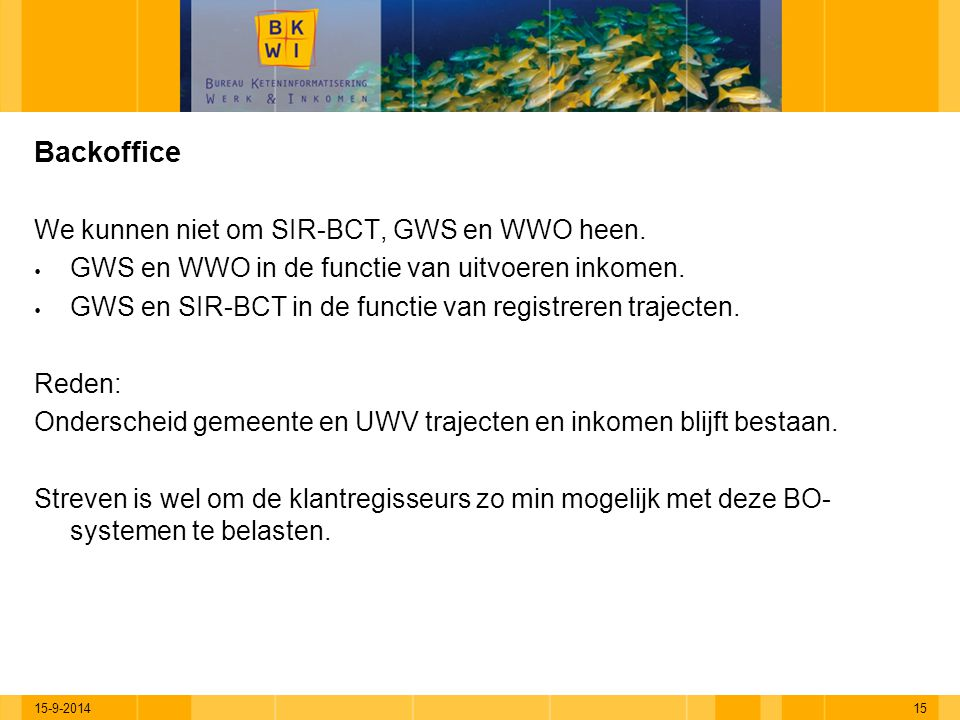 15-9-201415 Backoffice We kunnen niet om SIR-BCT, GWS en WWO heen.  GWS en WWO in de functie van uitvoeren inkomen.  GWS en SIR-BCT in de functie va