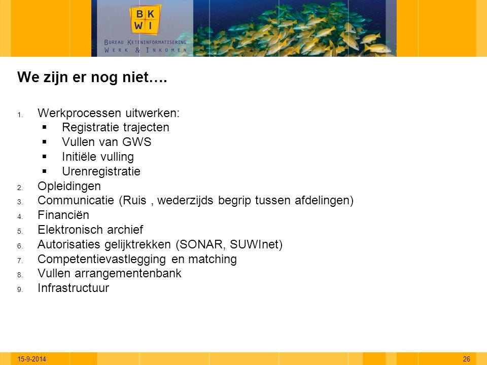 15-9-201426 We zijn er nog niet…. 1. Werkprocessen uitwerken:  Registratie trajecten  Vullen van GWS  Initiële vulling  Urenregistratie 2. Opleidi