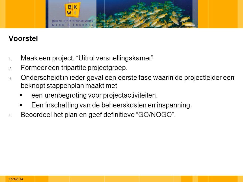"""15-9-2014 Voorstel 1. Maak een project: """"Uitrol versnellingskamer"""" 2. Formeer een tripartite projectgroep. 3. Onderscheidt in ieder geval een eerste f"""