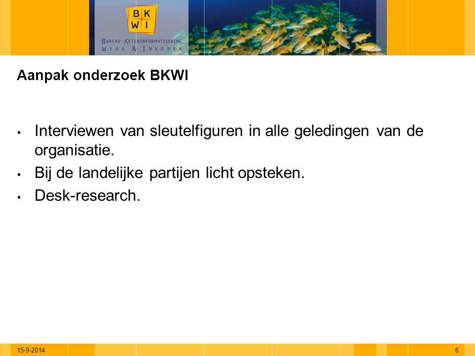 15-9-20146 Aanpak onderzoek BKWI  Interviewen van sleutelfiguren in alle geledingen van de organisatie.  Bij de landelijke partijen licht opsteken.