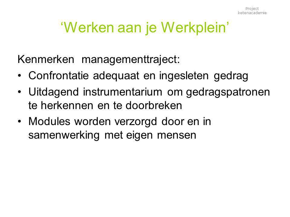 Project ketenacademie 'Werken aan je Werkplein' Kenmerken managementtraject: Confrontatie adequaat en ingesleten gedrag Uitdagend instrumentarium om g