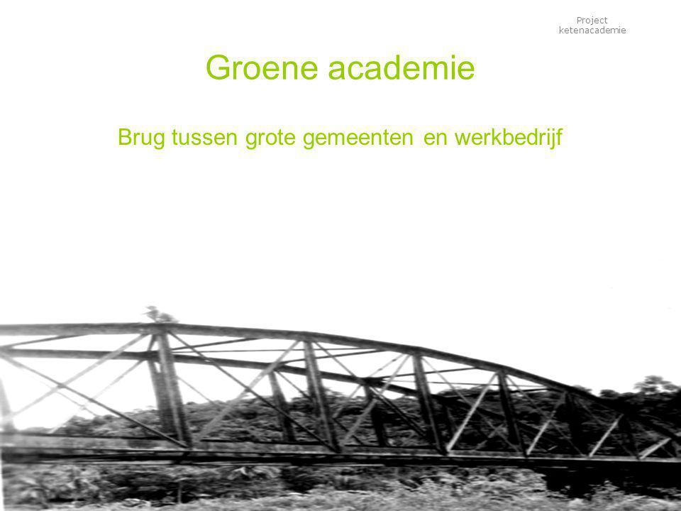 Project ketenacademie Groene academie Brug tussen grote gemeenten en werkbedrijf