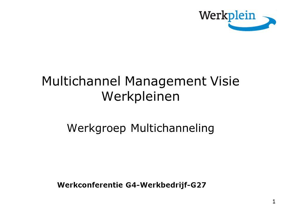 Multichannel Management Visie Werkpleinen Werkgroep Multichanneling 1 Werkconferentie G4-Werkbedrijf-G27