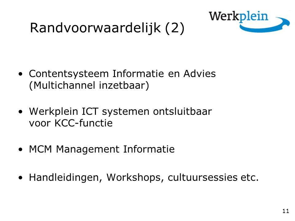 Randvoorwaardelijk (2) Contentsysteem Informatie en Advies (Multichannel inzetbaar) Werkplein ICT systemen ontsluitbaar voor KCC-functie MCM Management Informatie Handleidingen, Workshops, cultuursessies etc.