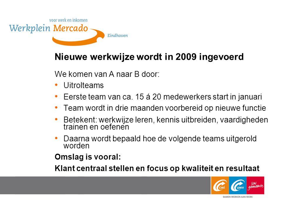 Nieuwe werkwijze wordt in 2009 ingevoerd We komen van A naar B door: Uitrolteams Eerste team van ca.