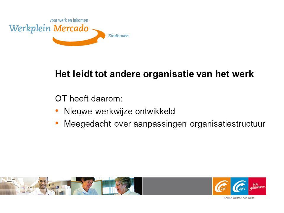 Het leidt tot andere organisatie van het werk OT heeft daarom: Nieuwe werkwijze ontwikkeld Meegedacht over aanpassingen organisatiestructuur