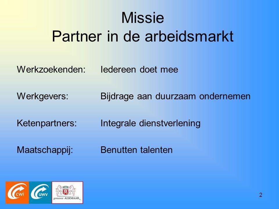 2 Missie Partner in de arbeidsmarkt Werkzoekenden:Iedereen doet mee Werkgevers:Bijdrage aan duurzaam ondernemen Ketenpartners:Integrale dienstverlening Maatschappij:Benutten talenten