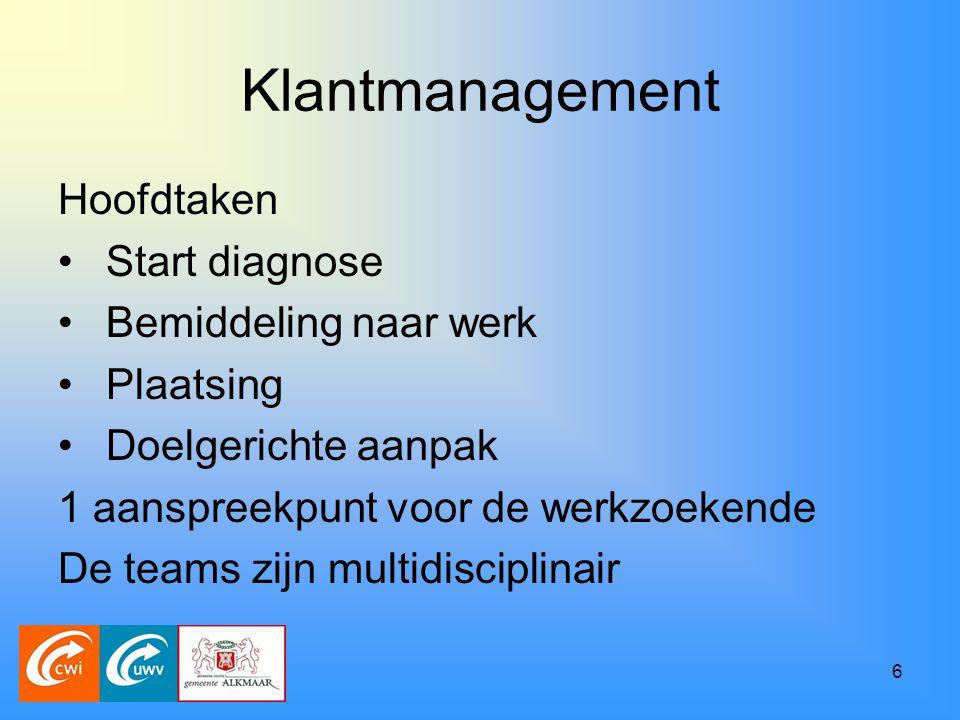 6 Klantmanagement Hoofdtaken Start diagnose Bemiddeling naar werk Plaatsing Doelgerichte aanpak 1 aanspreekpunt voor de werkzoekende De teams zijn multidisciplinair