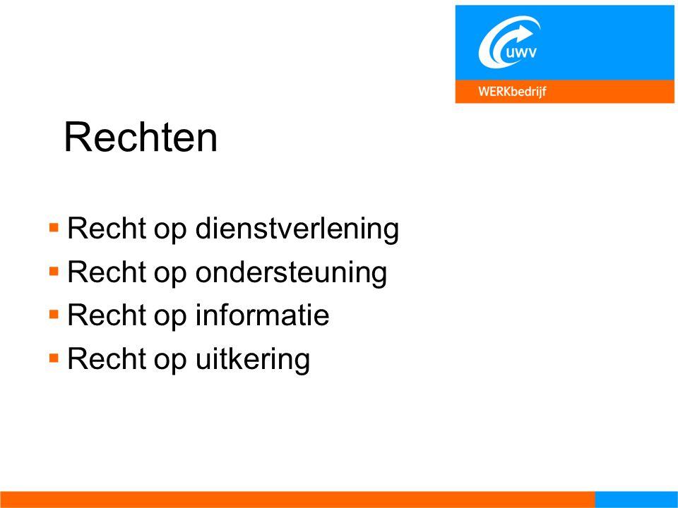 Rechten  Recht op dienstverlening  Recht op ondersteuning  Recht op informatie  Recht op uitkering