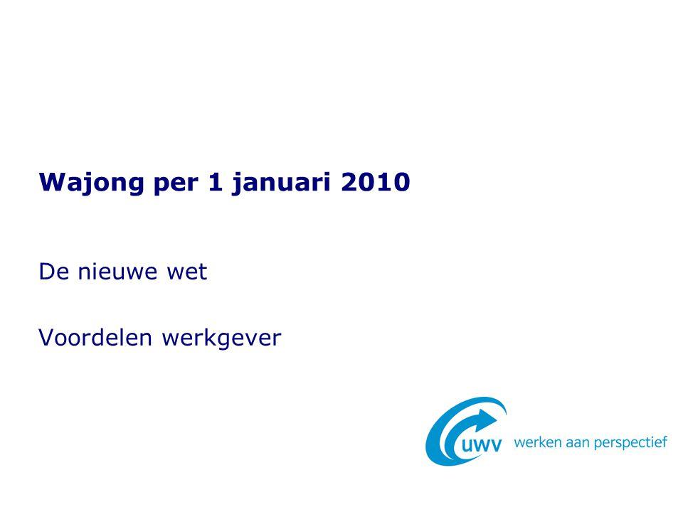 De nieuwe wet Voordelen werkgever Wajong per 1 januari 2010