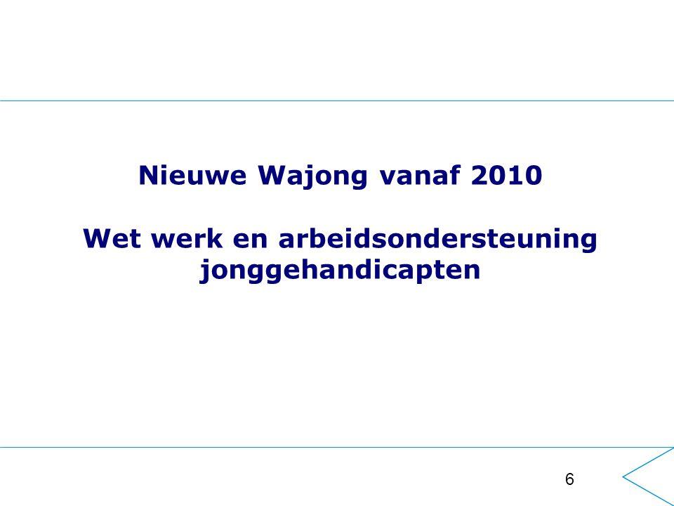 6 Nieuwe Wajong vanaf 2010 Wet werk en arbeidsondersteuning jonggehandicapten
