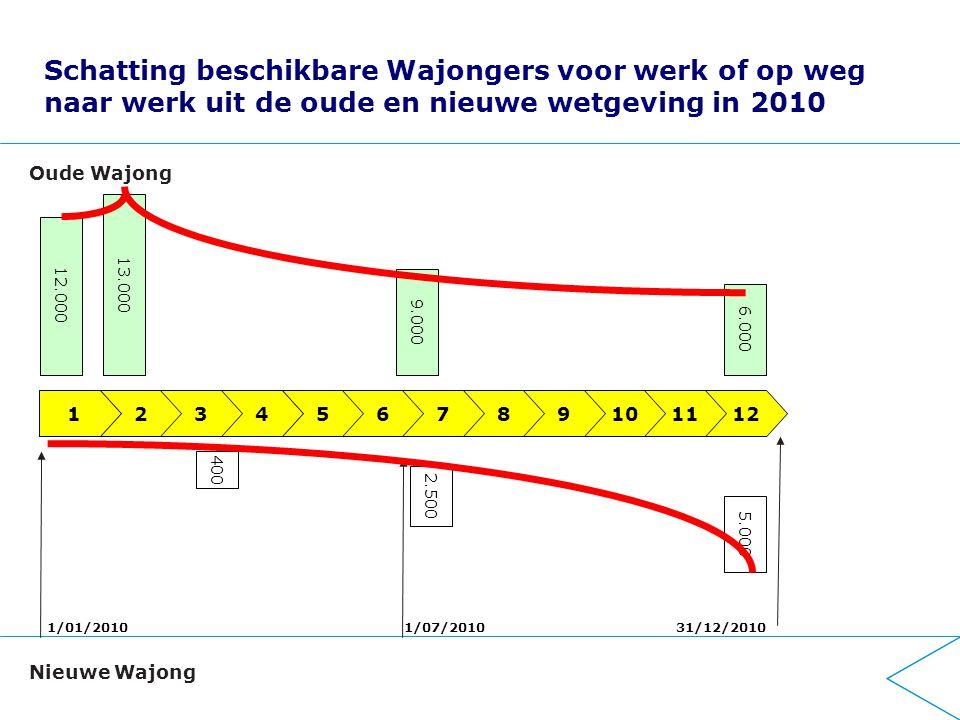 Schatting beschikbare Wajongers voor werk of op weg naar werk uit de oude en nieuwe wetgeving in 2010 123456789 1/01/201031/12/20101/07/2010 101112 12.000 9.000 6.000 400 2.500 5.000 Oude Wajong Nieuwe Wajong 13.000