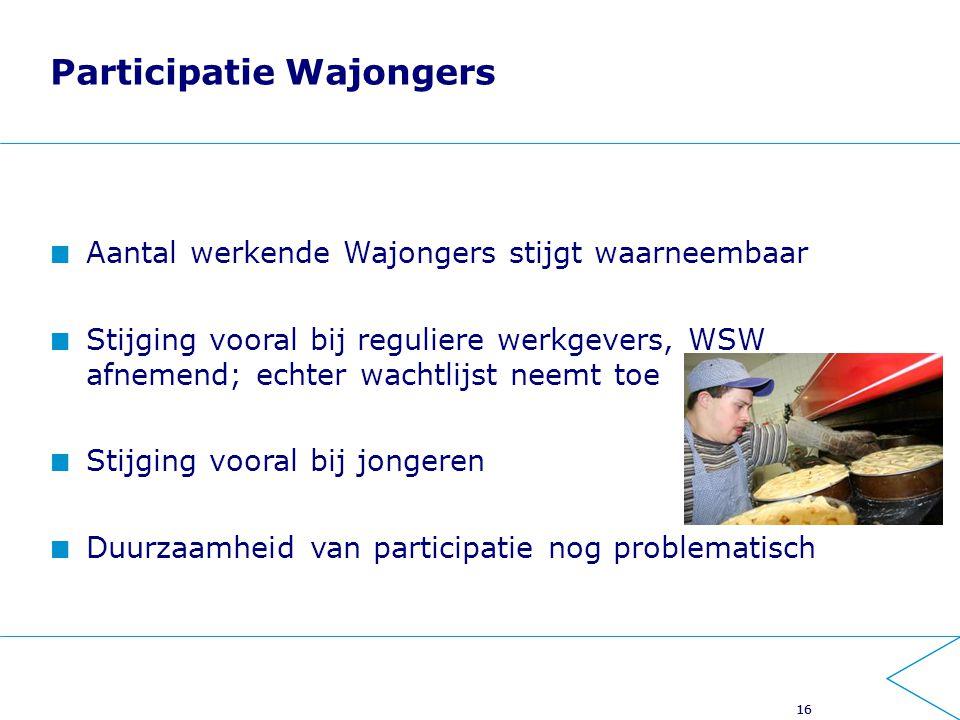 16 Participatie Wajongers Aantal werkende Wajongers stijgt waarneembaar Stijging vooral bij reguliere werkgevers, WSW afnemend; echter wachtlijst neemt toe Stijging vooral bij jongeren Duurzaamheid van participatie nog problematisch 16