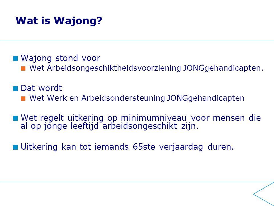 Wat is Wajong. Wajong stond voor Wet Arbeidsongeschiktheidsvoorziening JONGgehandicapten.
