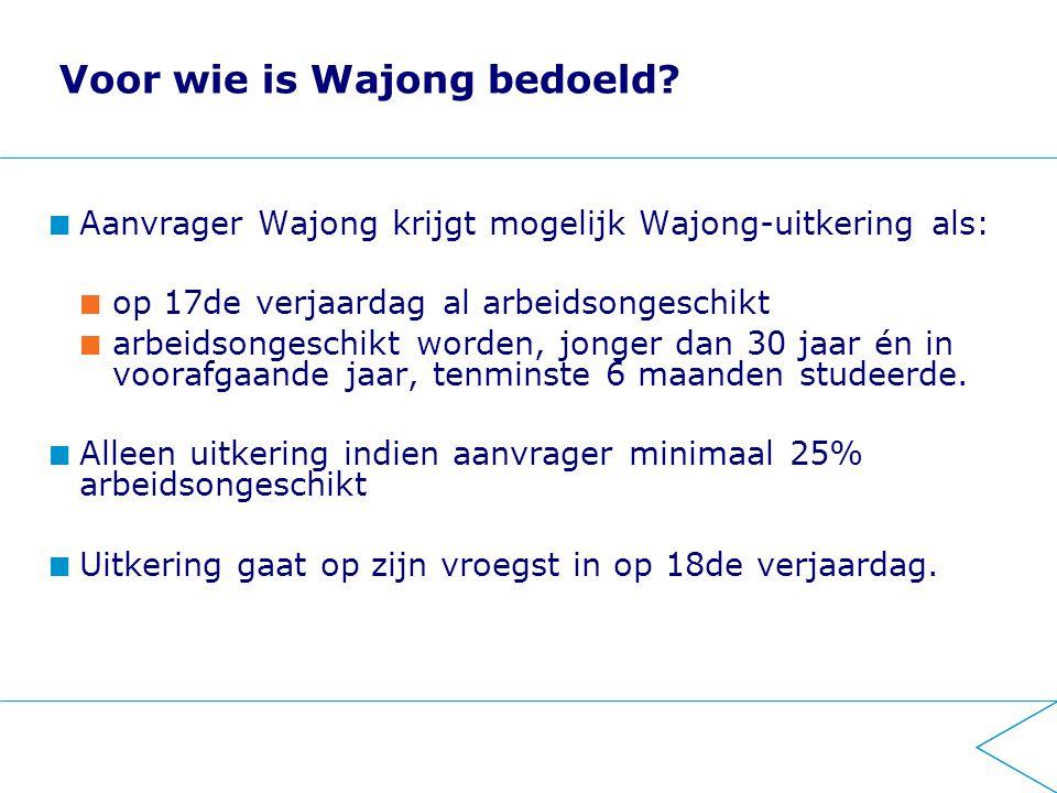 Voor wie is Wajong bedoeld? Aanvrager Wajong krijgt mogelijk Wajong-uitkering als: op 17de verjaardag al arbeidsongeschikt arbeidsongeschikt worden, j