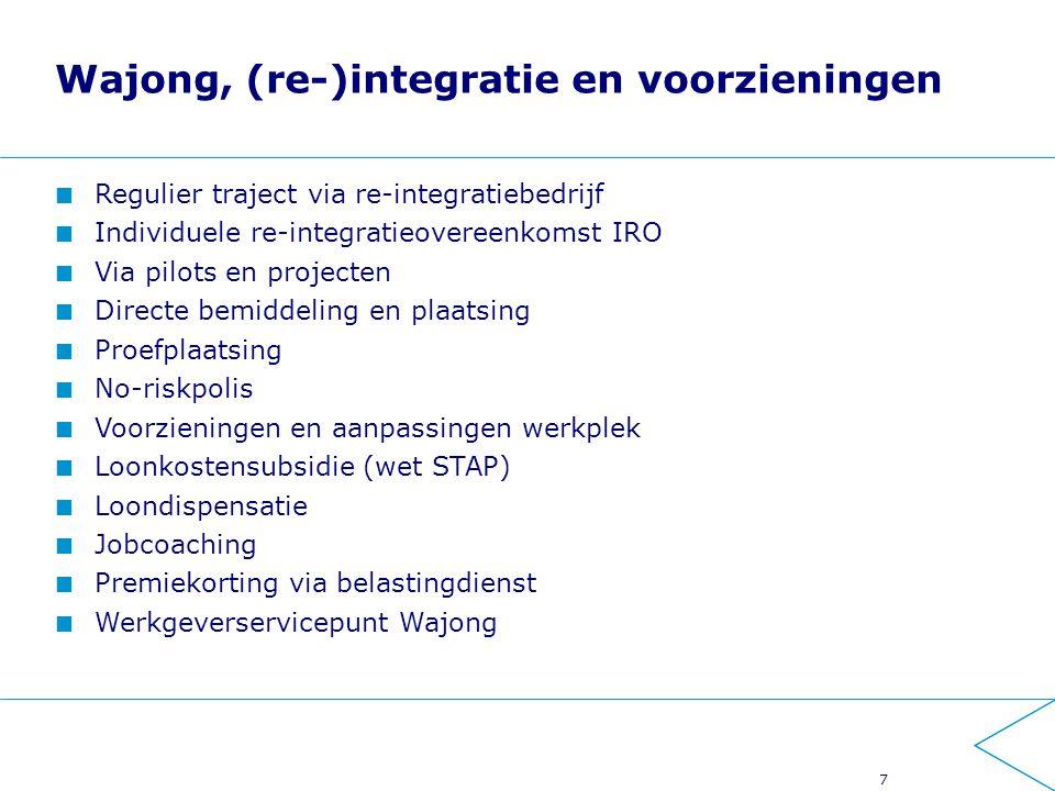 Wajong, (re-)integratie en voorzieningen Regulier traject via re-integratiebedrijf Individuele re-integratieovereenkomst IRO Via pilots en projecten D
