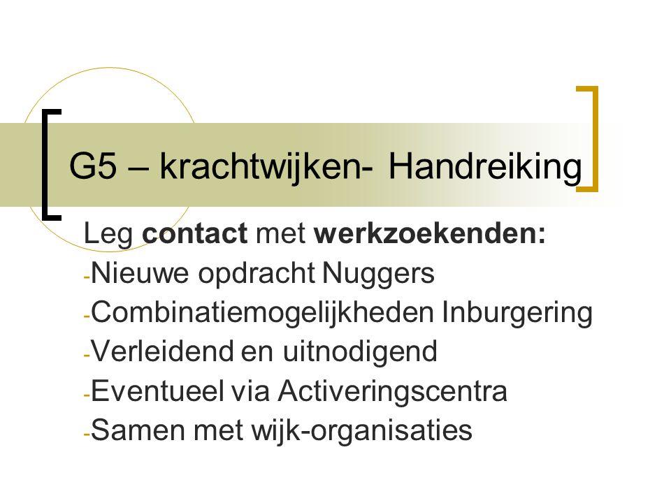 G5 – krachtwijken- Handreiking Leg contact met werkzoekenden: - Nieuwe opdracht Nuggers - Combinatiemogelijkheden Inburgering - Verleidend en uitnodigend - Eventueel via Activeringscentra - Samen met wijk-organisaties