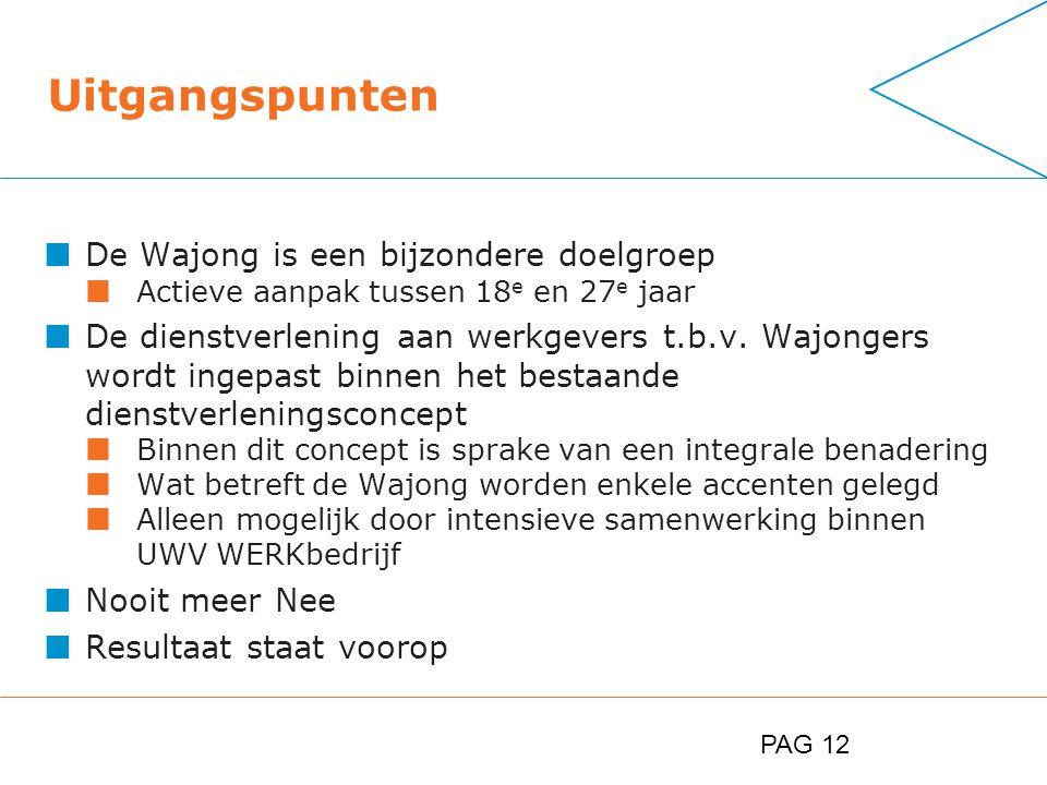 PAG 12 Uitgangspunten De Wajong is een bijzondere doelgroep Actieve aanpak tussen 18 e en 27 e jaar De dienstverlening aan werkgevers t.b.v.