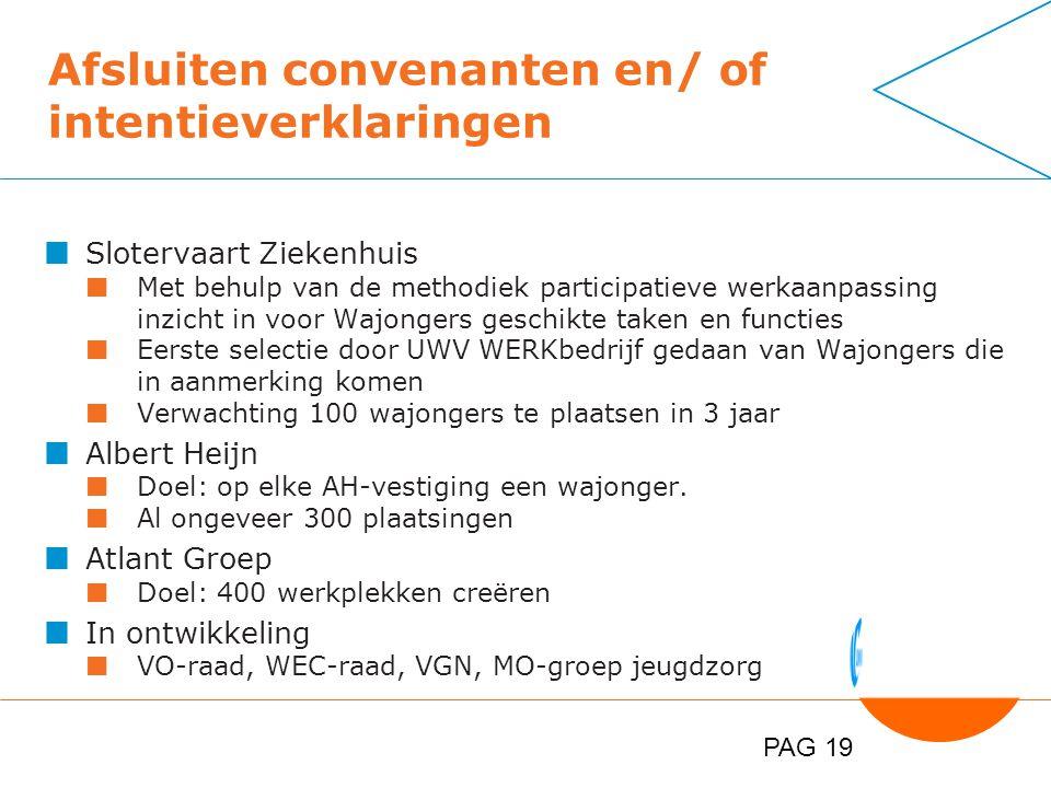 PAG 19 Afsluiten convenanten en/ of intentieverklaringen Slotervaart Ziekenhuis Met behulp van de methodiek participatieve werkaanpassing inzicht in voor Wajongers geschikte taken en functies Eerste selectie door UWV WERKbedrijf gedaan van Wajongers die in aanmerking komen Verwachting 100 wajongers te plaatsen in 3 jaar Albert Heijn Doel: op elke AH-vestiging een wajonger.