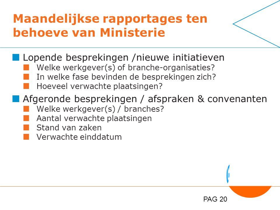 PAG 20 Maandelijkse rapportages ten behoeve van Ministerie Lopende besprekingen /nieuwe initiatieven Welke werkgever(s) of branche-organisaties.