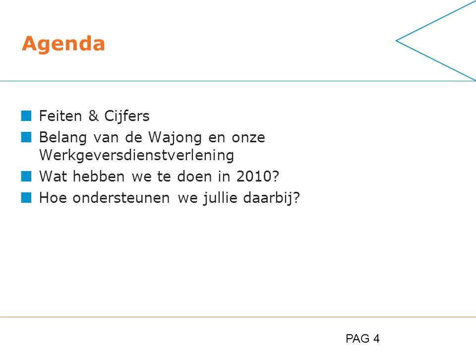 PAG 4 Agenda Feiten & Cijfers Belang van de Wajong en onze Werkgeversdienstverlening Wat hebben we te doen in 2010.