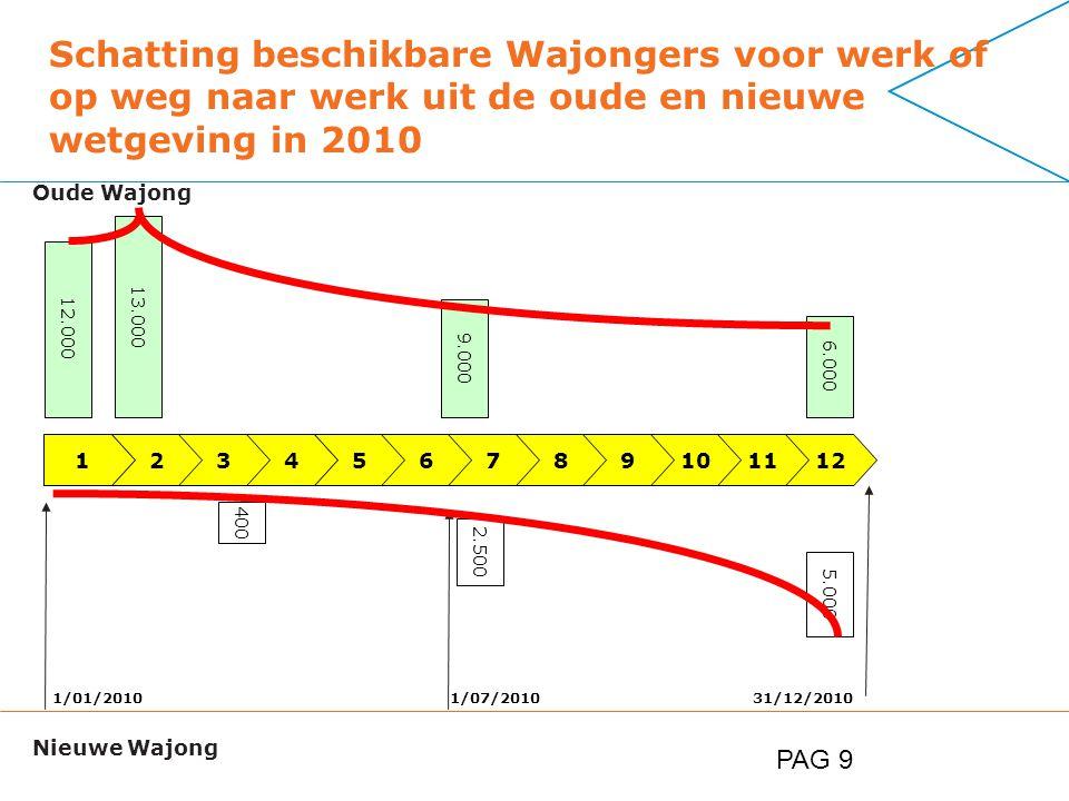PAG 9 Schatting beschikbare Wajongers voor werk of op weg naar werk uit de oude en nieuwe wetgeving in 2010 123456789 1/01/201031/12/20101/07/2010 101112 12.000 9.000 6.000 400 2.500 5.000 Oude Wajong Nieuwe Wajong 13.000