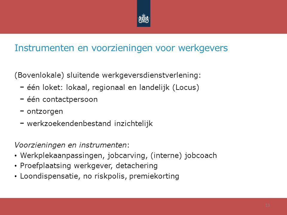 Instrumenten en voorzieningen voor werkgevers (Bovenlokale) sluitende werkgeversdienstverlening: één loket: lokaal, regionaal en landelijk (Locus) één