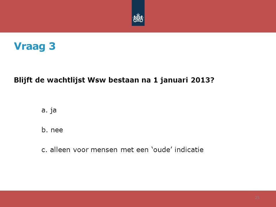 Vraag 3 Blijft de wachtlijst Wsw bestaan na 1 januari 2013? a. ja b. nee c. alleen voor mensen met een 'oude' indicatie 25